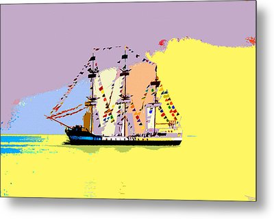 Metal Print featuring the painting Jose Gasparilla Sailing Colorful Tampa Bay by David Lee Thompson