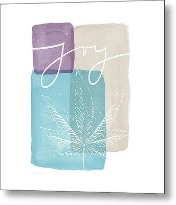 Joy Cannabis Leaf Watercolor- Art By Linda Woods Metal Print