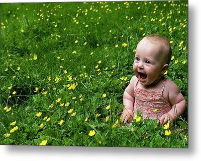 Joyful Baby In Flowers Metal Print by Lorraine Devon Wilke