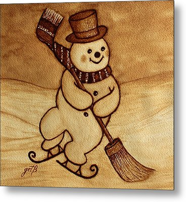 Joyful Snowman  Coffee Paintings Metal Print by Georgeta  Blanaru
