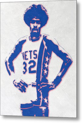 Julius Erving New York Nets Pixel Art Metal Print
