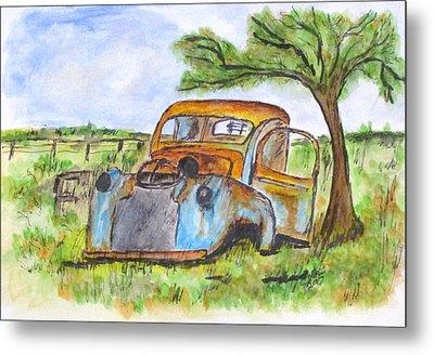 Junk Car And Tree Metal Print