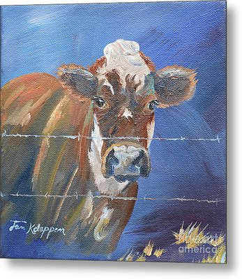 Metal Print featuring the painting Just A Big Happy Cow On A Little Square Canvas by Jan Dappen