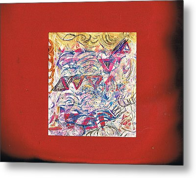 Just A Little Abstract On A Red Satin Pillow Metal Print by Anne-Elizabeth Whiteway