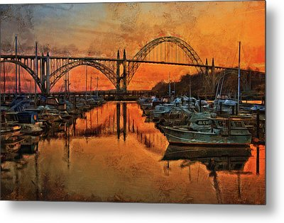 Just After Sunset On Yaquina Bay Metal Print by Thom Zehrfeld