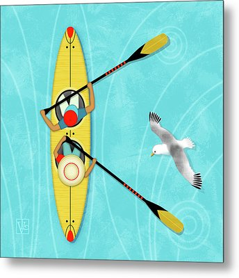 K Is For Kayak And Kittiwake Metal Print