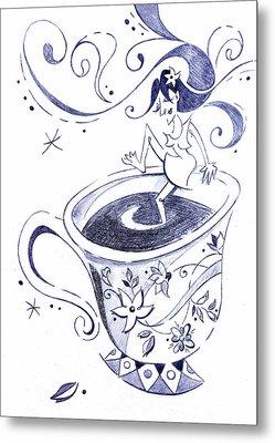 Kaffee - Arte Cafe - Coffee Cup Drawing Metal Print