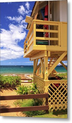 Metal Print featuring the photograph Kamaole Beach Lifeguard Tower by James Eddy
