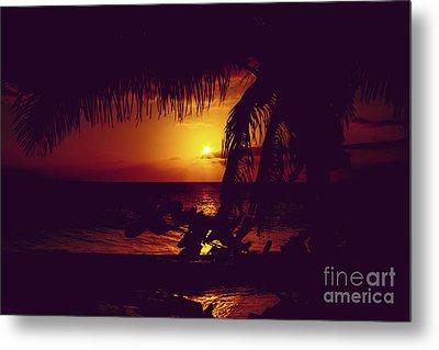 Metal Print featuring the photograph Kamaole Tropical Nights Sunset Gold Purple Palm by Sharon Mau
