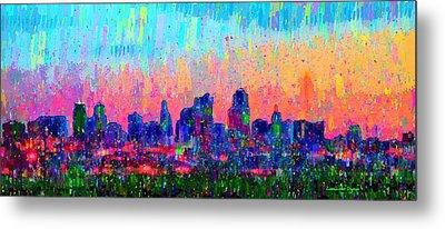 Kansas City Skyline 100 - Pa Metal Print