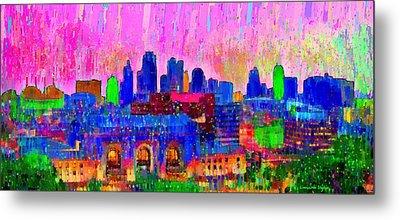 Kansas City Skyline 205 - Pa Metal Print by Leonardo Digenio