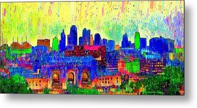 Kansas City Skyline 208 - Pa Metal Print by Leonardo Digenio