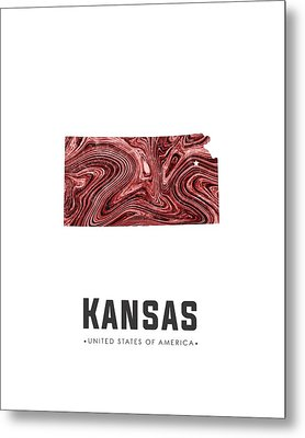 Kansas Map Art Abstract In Deep Red Metal Print