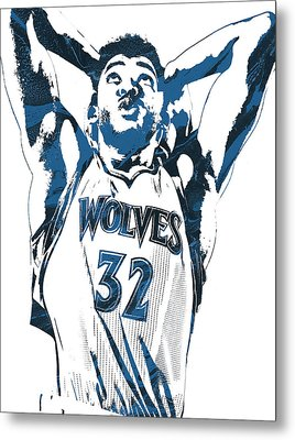 Karl Anthony Towns Minnesota Timberwolves Pixel Art Metal Print