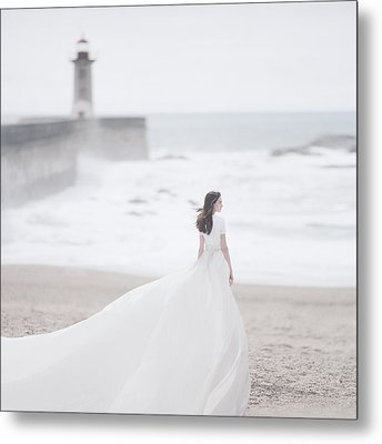 Katya And The Lighthouse Metal Print