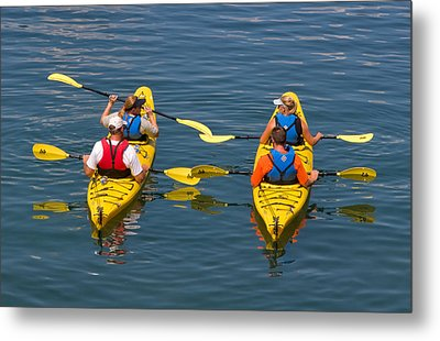 Kayakers In Bar Harbor Maine Metal Print by Louise Heusinkveld