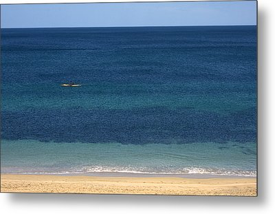 Kayaking On The Coastline Of Wa Metal Print