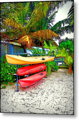 Kayaks In Paradise Metal Print by Joan  Minchak