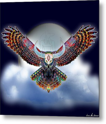 Metal Print featuring the digital art Keeper Of The Night by Iowan Stone-Flowers