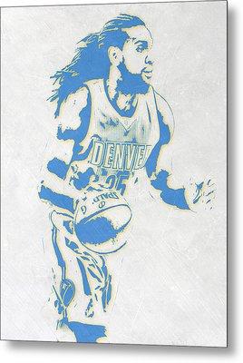 Kenneth Faried Denver Nuggets Pixel Art Metal Print