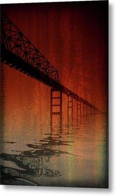 Key Bridge Artistic  In Baltimore Maryland Metal Print by Skip Willits