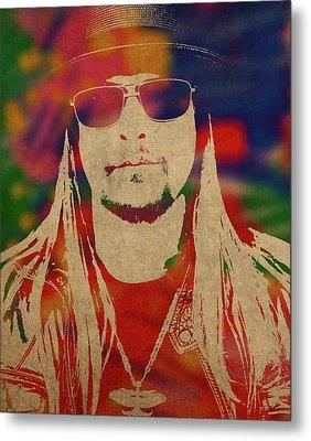 Kid Rock Watercolor Portrait Metal Print