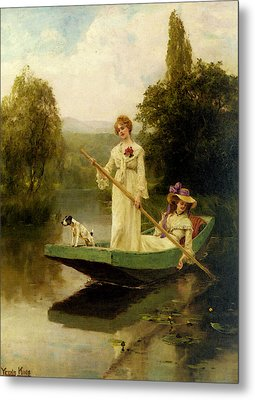 King Henry John Yeend Two Ladies Punting On The River Metal Print
