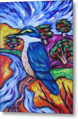 Kingfisher By The River 1 Metal Print by Dianne  Connolly