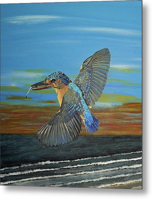 Metal Print featuring the painting Kingfisher Of Eftalou by Eric Kempson
