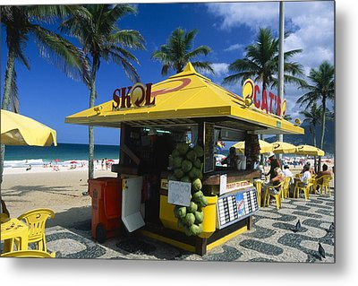 Kiosk On Ipanema Beach Metal Print by George Oze