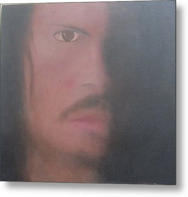 Metal Print featuring the painting Kirk Hammett by Patricia Cleasby