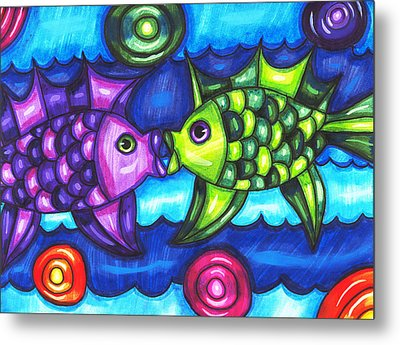 Kissing Fish Metal Print