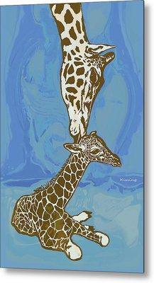 Kissing - Giraffe Stylised Pop Art Poster Metal Print by Kim Wang