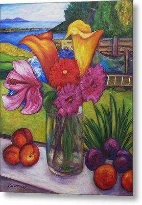 Kitchen Window View Metal Print by Dianne  Connolly