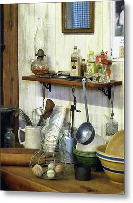 Kitchen With Wire Basket Of Eggs Metal Print by Susan Savad
