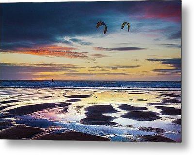 Kite Surfing, Widemouth Bay, Cornwall Metal Print