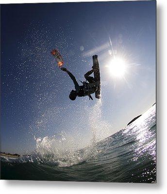 Kitesurfing In The Mediterranean Sea  Metal Print by Hagai Nativ