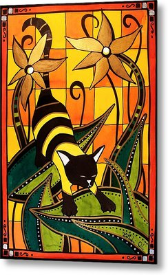 Metal Print featuring the painting Kitty Bee - Cat Art By Dora Hathazi Mendes by Dora Hathazi Mendes