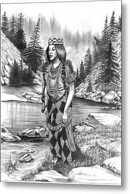 Klamath Indian Woman Metal Print by Cheryl Poland