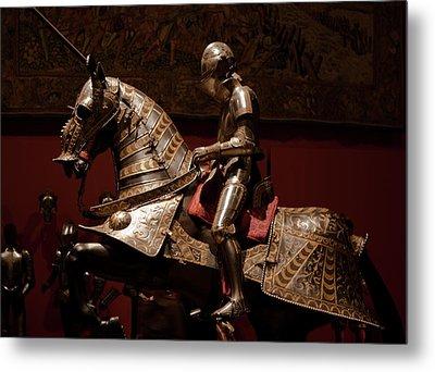 Knight And Horse In Armor Metal Print by Lorraine Devon Wilke