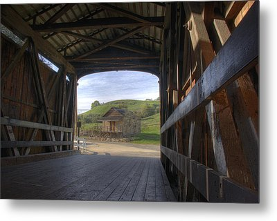 Knights Ferry Covered Bridge Metal Print by Jim And Emily Bush