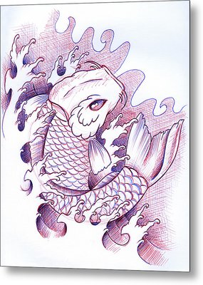 Koi Carp Tattoo Art Metal Print