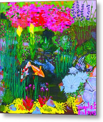 Metal Print featuring the painting Koi Pond I by Angela Annas