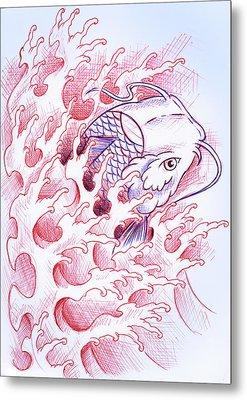 Koi Tattoo Sketch Metal Print by Samuel Whitton