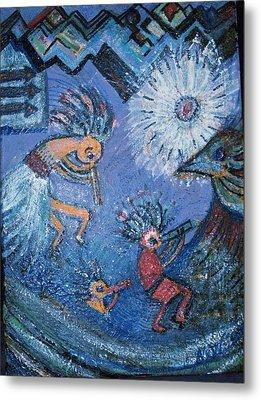 Kokopelli Dancers And Big Bird Metal Print by Anne-Elizabeth Whiteway