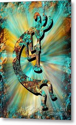 Kokopelli Turquoise And Gold Metal Print by Vicki Pelham
