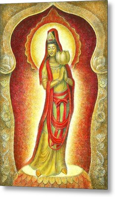 Kuan Yin Lotus Metal Print by Sue Halstenberg