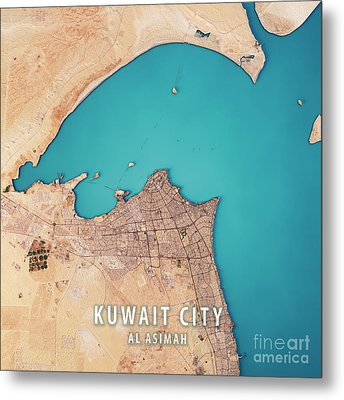Kuwait City 3d Render Satellite View Topographic Map Metal Print