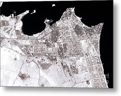 Kuwait City Abstract City Map Black And White Metal Print by Frank Ramspott