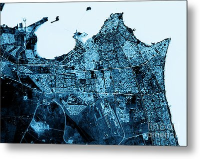 Kuwait City Abstract City Map Top View Dark Metal Print